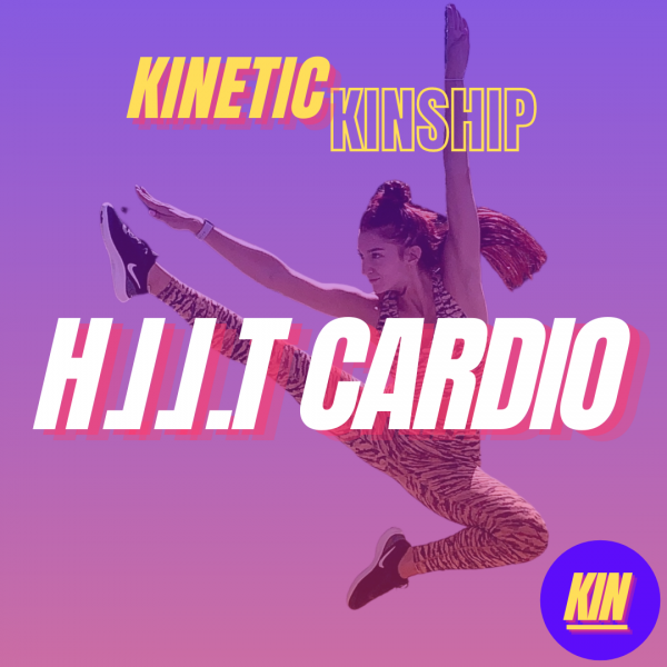 HIIT CARDIO in white bold letters overlaid on an image of Daniela jumping. Kinetic Kinship logo at the top.