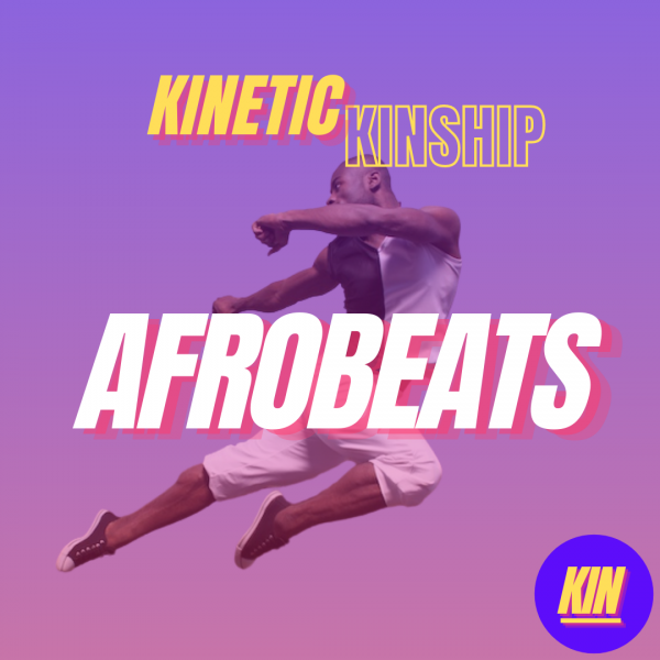 Afrobeats in white bold letter overlaid on photo of Clement Mensah jumping. Kinetic Kinship logo at the top.