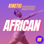 African in white block letters overlaid on a photo of Men Ca stretching his arms and twisting his torso. Kinetic Kinship on top.