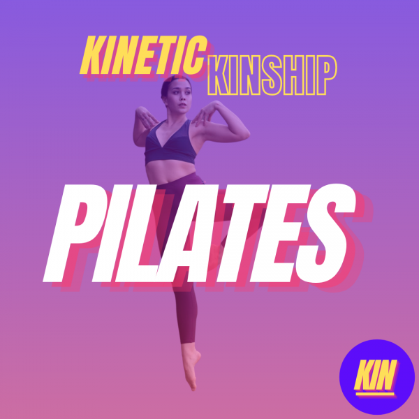 Pilates in white block letters overlaid on a photo of Ashley Larosa jumping in a passe position. Kinetic Kinship logo on top.