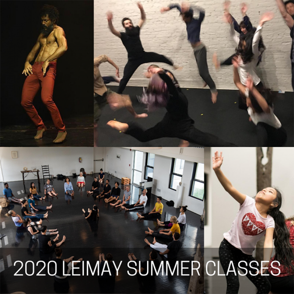 A collage of people of all ages dancing in LEIMAY programs and one image of Guest Teacher Ricardo Bustamante