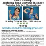 Two pictures of dancer Bala Devi Chandrashekar in costume along with text describing event information.