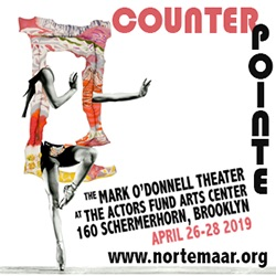 Counterpointe7 logo with 2 dancers as paintings, Norte Maar, New York