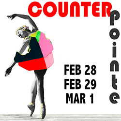 CounterPointe8 Logo with dancer in pink sculpture