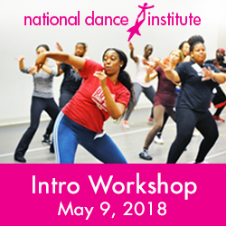 The image announces a National Dance Institute Introductory Workshop taking place on May 9th, 2018. It features a young, African-American woman wearing a red t-shirt dancing in the foreground. Behind her are several adult dancers performing choreography in a studio as they all take part in an NDI training. The image links to: http://nationaldance.org/teacher-training/