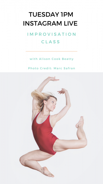 Graphic with class information and photo of Alison Cook Beatty dancing.