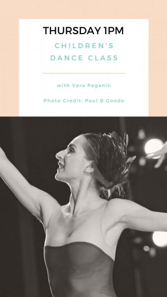 Graphic with class information and photo of Vera Paganin dancing.