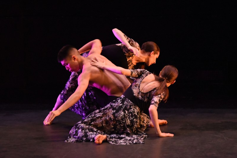 Company Members Richard Sayama, Sasha Rydlizky, and Vera Paganin performing SEELE choreographed in 2019.