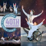 Performance photos of physically integrated dancers encircling a 40th Anniversary logo graphic.