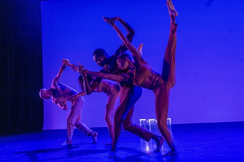 Dancers (right to left): Sonja Chung, Isaac White, Elise King, Andy Jacobs in The Theory of Color at New York Live Arts.