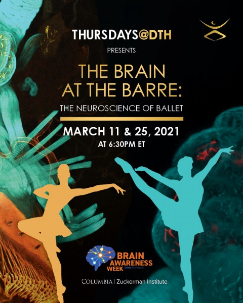 Images of the brain and silhouettes of dancers