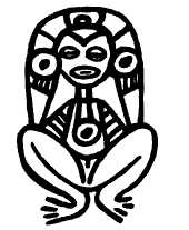 A photo of Atabey the Taino Goddess the represents mother earth and water