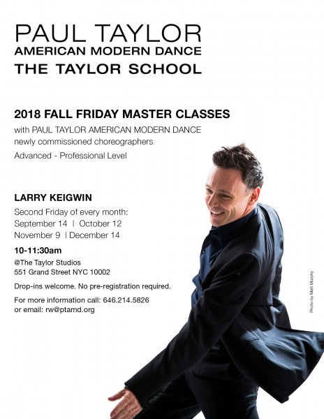 Poster for 2018 Larry Keigwin Master Classes