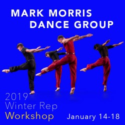 Mark Morris Dance Group ad for 2019 Winter Repertory Workshop, Jan 14-18