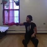 Jessica Pearson demonstrates an arm movement.