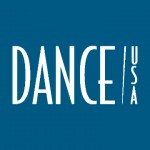 Dance/USA logo in white text on blue background