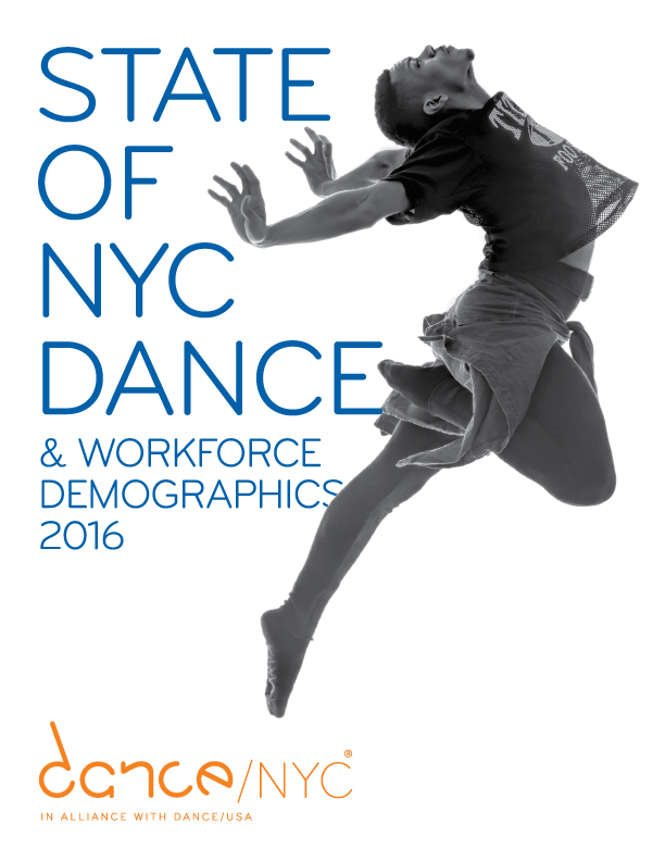 State of NYC Dance & Workforce Demographics 2016. A dancer jumps upward, head and chest pointed up, arms extended back, with one leg folded and the other pointed.