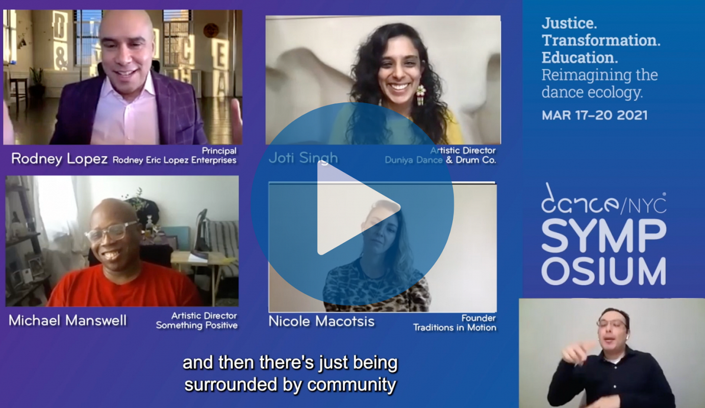 A collection of Zoom squares that feature Rodney Lopez, Joti Singh, Michael Manswell, Nicole Macotsis, and a sign language interpreter. There is a translucent blue circle with a white triangle in the center that hovers over the center of the image, indicating that a video can be played.