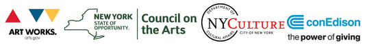 Logos for Artworks, New York Council on the Arts, NYC Department of Cultural Affairs, and ConEdison